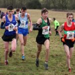 57 Rory Leonard (Morpeth Harriers), 26 Joshua Dickinson (City of York), Euan Brennan (Ilkley Harriers) and 84 Josh Cowerthwaite (Middlesbrough AC) lead the mens under-17s 2018 Northern Cross Country Champs., Harewood House, Leeds. Photo: David T. Hewitson/Sports for All Pics
