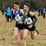 Backdrop Harewood House, 57 Rory Leonard (Morpeth Harriers) and 26 Joshua Dickinson (City of York) lead the mens under-17s 2018 Northern Cross Country Champs., Harewood House, Leeds. Photo: David T. Hewitson/Sports for All Pics
