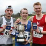 From left to right: 2nd Matthew Bowser (Lincoln Wellington), winner Carl Avery (Morpeth Harriers) and 3rd Steven Bayton (Hallamshire Harriers) in the senior mens 2018 Northern Cross Country Champs., Harewood House, Leeds. Photo: David T. Hewitson/Sports for All Pics