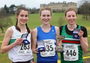 From left to right: Lauren Howarth (Leight Harriers) 2nd, Mhairi Maclennan (Morpeth Harriers) winner and 3rd Georgia Taylor-Brown Sale Harriers Manchester), senior womens 2018 Northern Cross Country Champs., Harewood House, Leeds. Photo: David T. Hewitson/Sports for All Pics