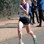 Fastest short leg runner Claire Duck (Leed City AC) leads in the womens 6 stage relqy Northern 6 Stage Road Relay Champs., Birkenhead Park. Photo: David T. Hewitson/Sports for All Pics