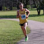 Fastest long leg Ross Millington (Stockport Harriers) leads on the first leg of the mens 12 stage relay Northern 12 Stage Road Relay Champs., Birkenhead Park. Photo: David T. Hewitson/Sports for All Pics