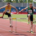 Ben Schofield (City of York) wins the under-20s 400 metres hurdles from Jack Berwick (Amber Valley and Erewash AC), Northern Senior and Under-20s Champs., Sports City, Manchester. Photo: David T. Hewitson/Sports for All Pics