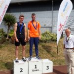 Senior men pole vault, 1st Luke Cutts, 2nd George Heppinstall with NA President Kevin Carr
