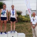 Senior women 2k steeplechase, 1st Lauren Stoddart, 2nd Laura Riches, with NA President Kevin Carr
