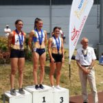 Senior women 800m 1st Lucy Crookes, 2nd Becky Rigby, 3rd Rachael Franklin, with NA President Kevin Carr