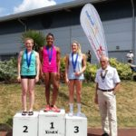 Senior women long jump, 1st Abigail Irozuru, 2nd Danielle McGifford, 3rd Jess Taylor, with Kevin Carr