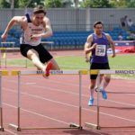 William Ritchie-Moulin (Durham University AC) wins the senior mens 400 metres hurdles, Northern Senior and Under-20s Champs., Sports City, Manchester. Photo: David T. Hewitson/Sports for All Pics