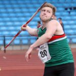 Sam Dean (Sale Harriers) winner of the senior mens javelin, Northern Senior and Under-20s Champs., Sports City, Manchester. Photo: David T. Hewitson/Sports for All Pics