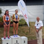 Under 20s women 800m 1st Tamsin McGraw, 2nd Eve Hutchinson with Kevin Carr
