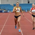 Naimh Emerson (Amber Valley and Erewash AC) wins the under-20s womens 200 metres, Northern Senior and Under-20s Champs., Sports City, Manchester. Photo: David T. Hewitson/Sports for All Pics
