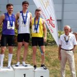 Senior Men 400m 1st Will Richie, 2nd James Webster, 3rd Andy Desmond with NA President Kevin Carr